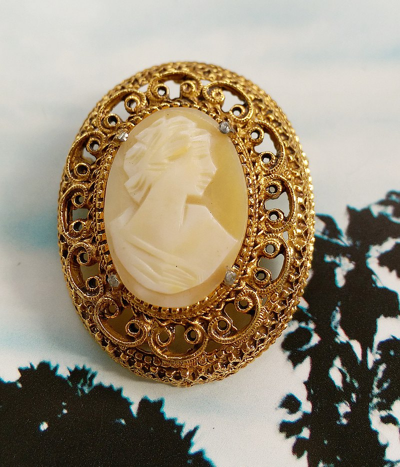Western antique ornaments. FLORENZA CAMEO Lady Embossed Romantic Crimping Pin