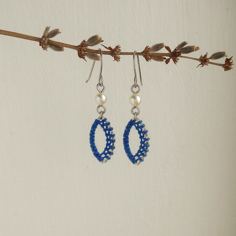 horse eye shape Macrame Earrings blue