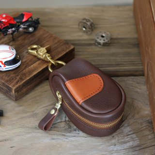 <隆鞄工坊>-Structured key case/carriage limited-coffee X brown