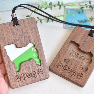 Wooden IC card case 【Pug / pug】 walnut