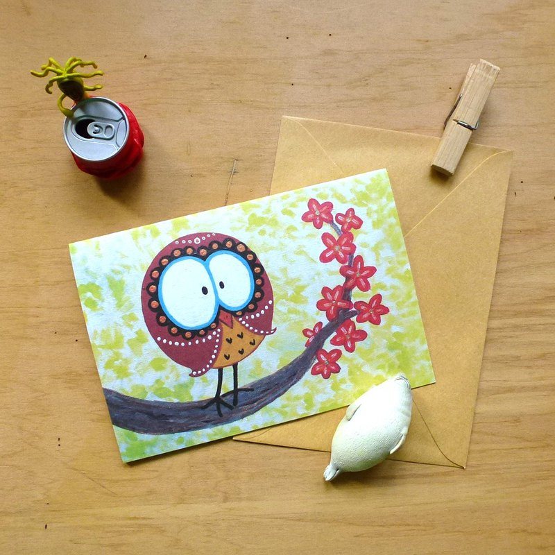 Universal card ∣ floral owl