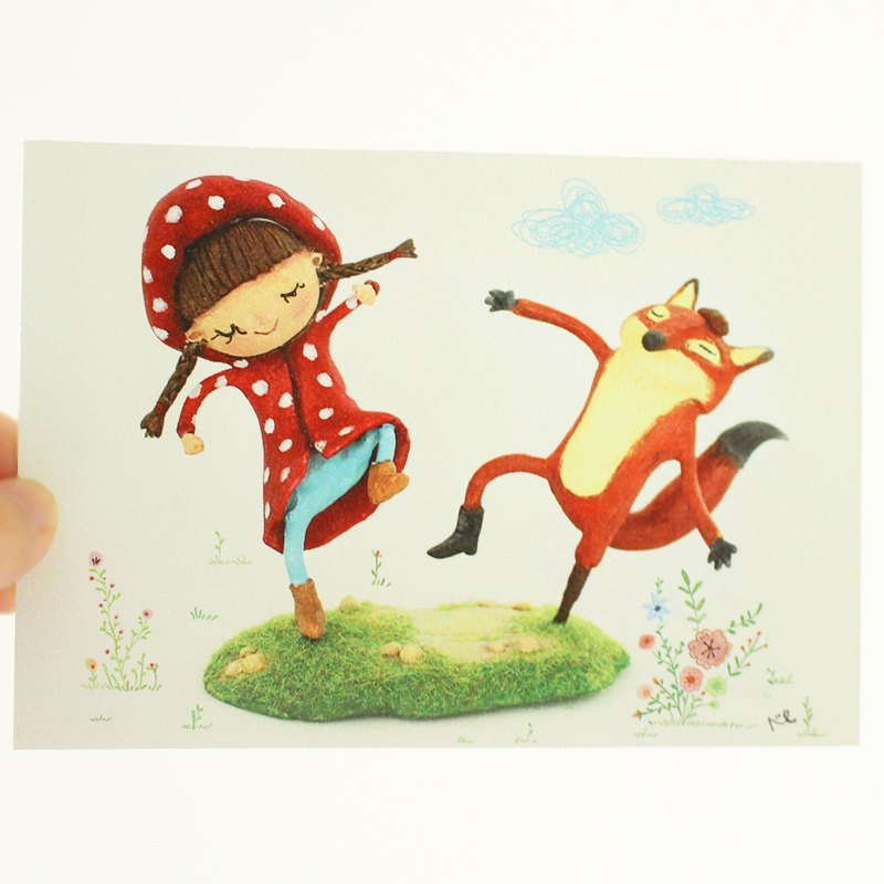 Lena & Friends II Lena dance with fox postcard