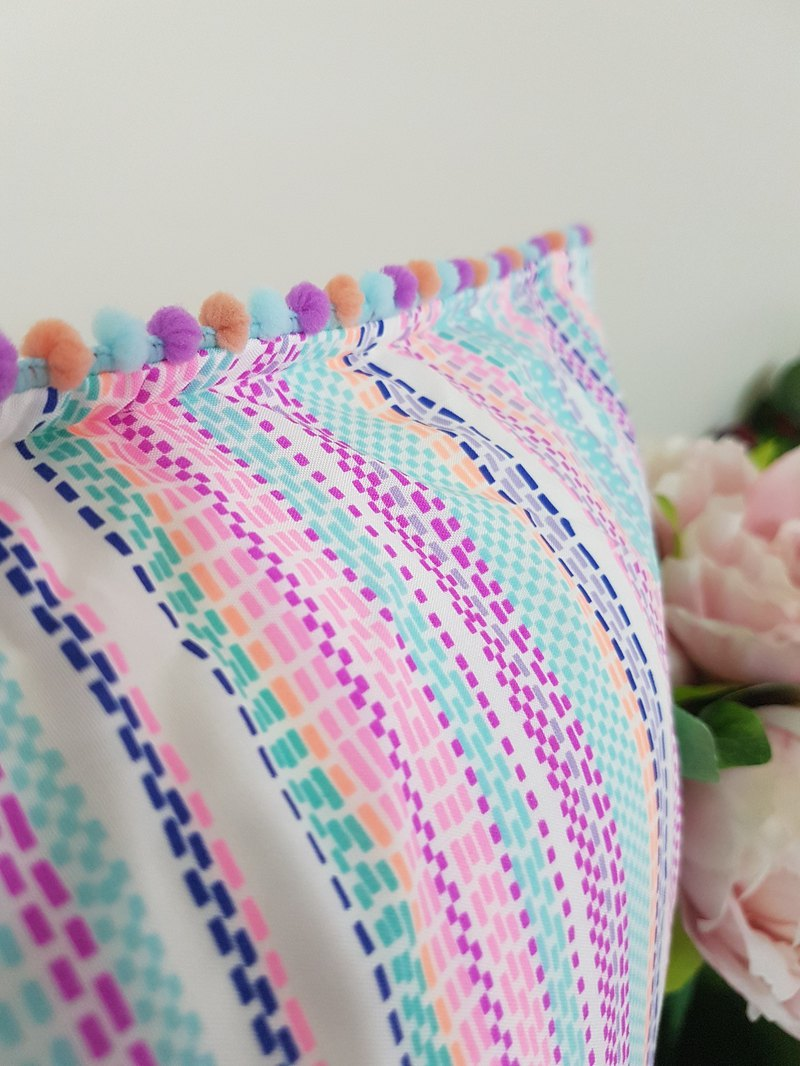 Nordic style simple striped pastel little fur ball pillow / pillow
