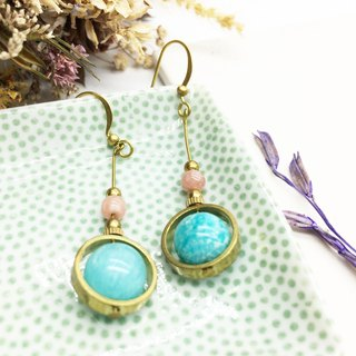 Laolin grocery Travelin natural stone brass earrings turn Tianhe Stone / Meng mine Ling Er hook l ear needle l ear clip