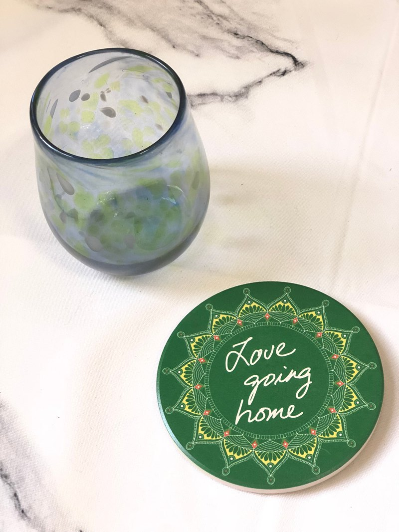 My hand-painted ceramic absorbent coaster Mandala Hannah meditation painted Henna Mandala