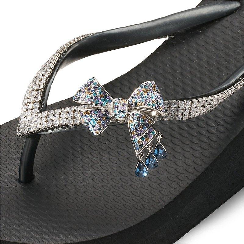 女款3cm厚底夾腳拖鞋-頂級首飾工藝水鑽-水滴蝶結 爵士黑