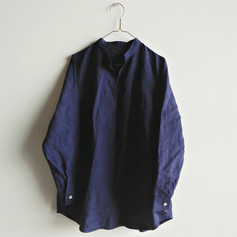 Stand collar cardigan linen dark blue