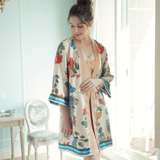 Home Wear Imperial Palace Garden Print Soft Skin Soft Satin Banding Outer Robe Top - Rice