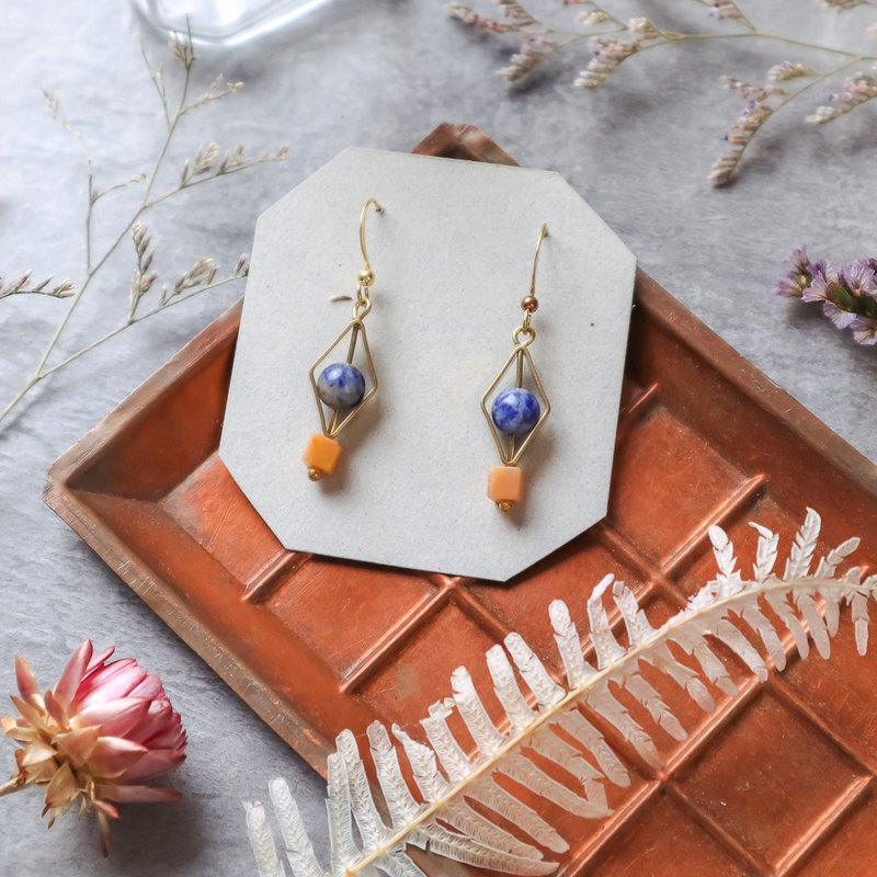Natural Stone Geometric Brass Series Earrings - Try