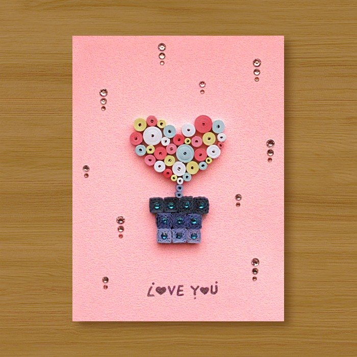 (2 models to choose from) Handmade Roll Paper Cards _ Love Love Potted Love You