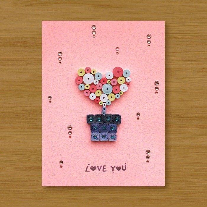 ( 2款供選擇 ) 手工捲紙卡片 _ 愛戀小盆栽 Love You - 情人卡