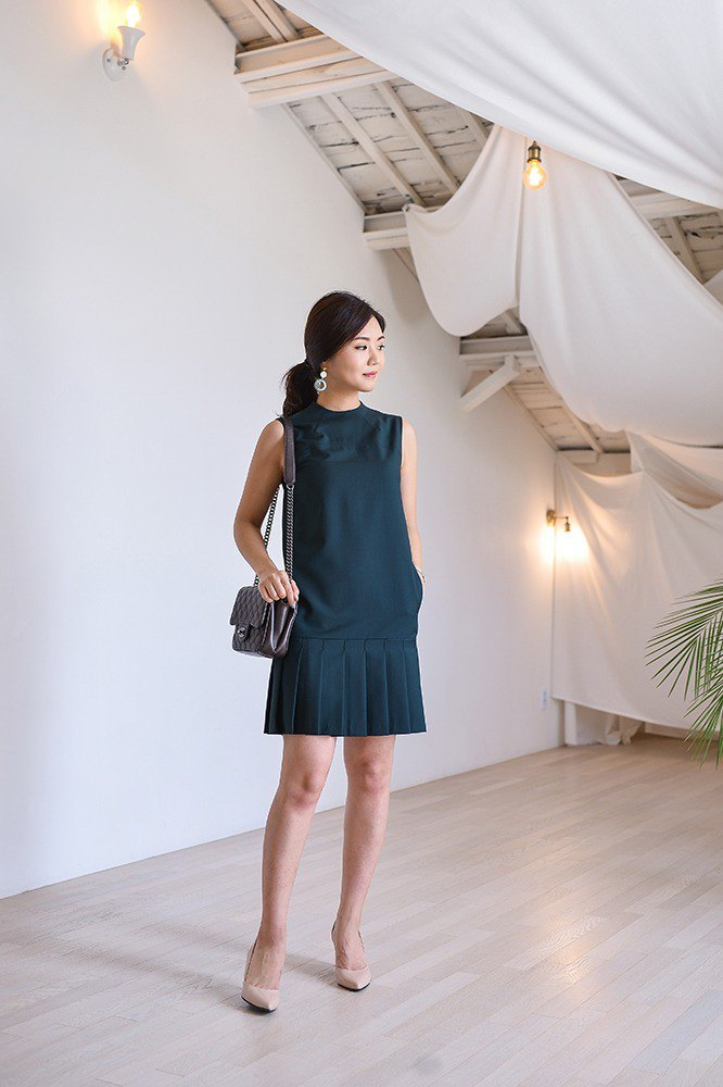 Dark Green French Classic Mini Dress