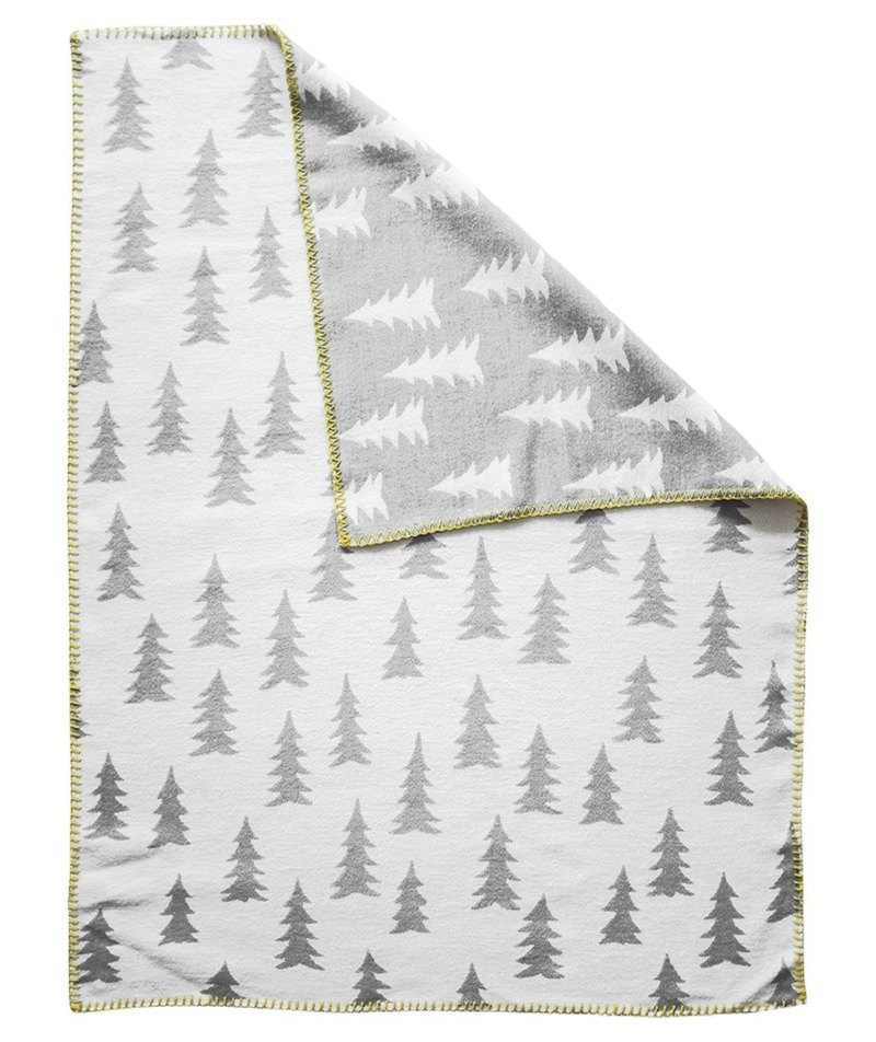 Forest organic cotton brush blanket gray white yellow side GRAN WOVEN CHILD BLANKET (grey/yellew