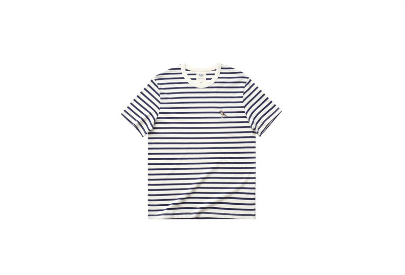 chichaqu | Blue label - Organic cotton striped T-shirt with Embroidery /Sparrow/