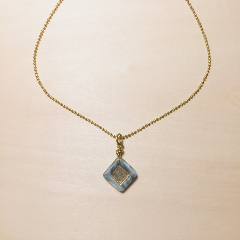 Vintage pure brass gray glazed brick necklace