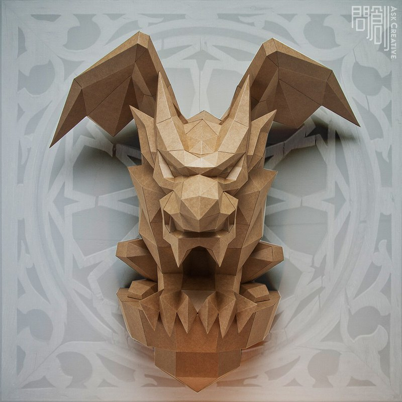 Ask Creative Design DIY Handmade 3D Paper Model Mysterious Gargoyle Fantasy Series-Gargoyle Mural