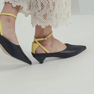 Followed by a special tangent ankle leather low heel black and yellow
