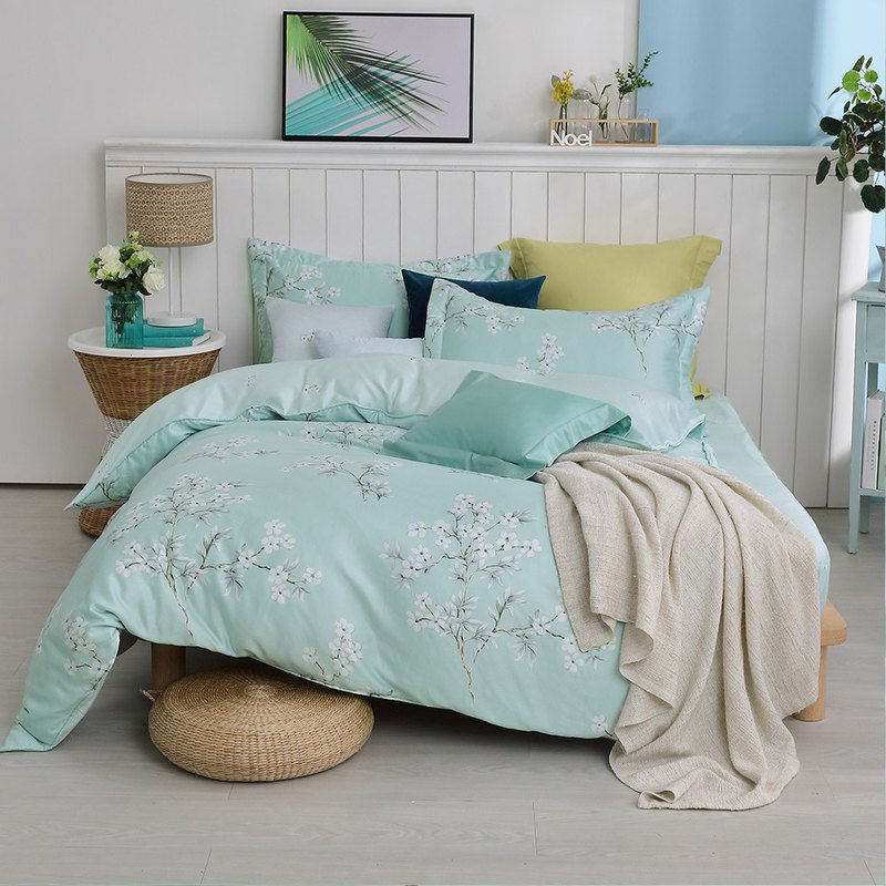 Flower Rain Morning Dew - Double Tencel Cotton Bed Pack Four Pieces [40 100% Lysell] 5*6.2 feet