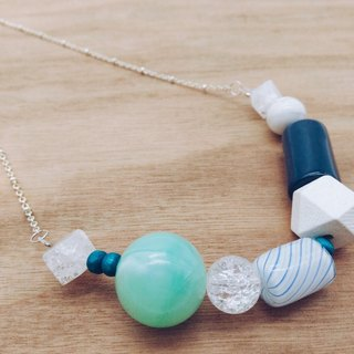 【Corner shop】 own hand-blown glass beads series - necklace (blue)