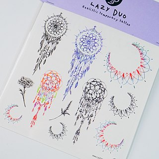 Little Minimal Pastel Color Dreamcatcher watercolor Temporary Tattoo Sticker Art