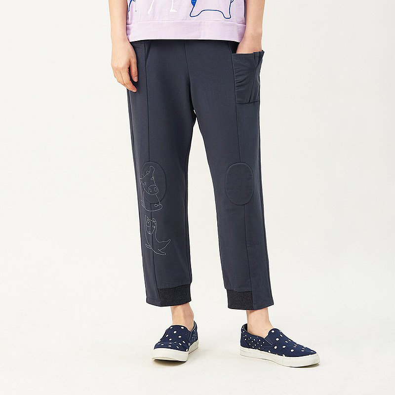 à la sha Cattle dog embroidered cropped trousers