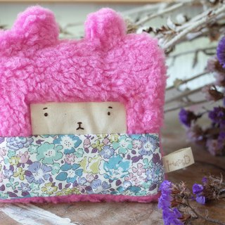 Doll Bunny Purse - Pink Hair - Blue Flowers