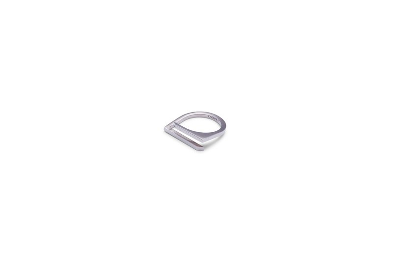 Minimalist architectural / matte and shinny dual tone designer steel ring