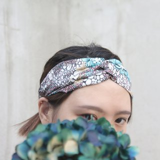Faint sun | blue flower Egyptian cotton soft cotton handmade cross hair band