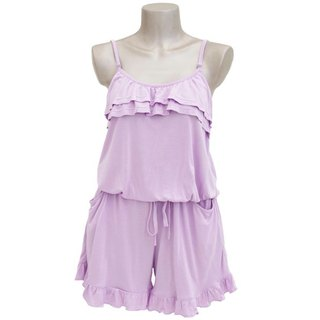 Adult cute camisole ruffle all-in-one <Lavender>