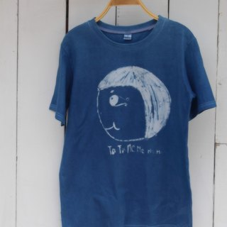 Free to dye isvara handmade blue dye courage sister series big head forward red cotton T-shirt