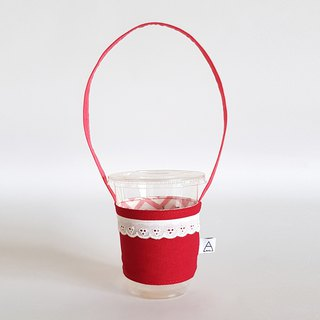 Strawberry Red x White Lace Drink Cup Bag/Red