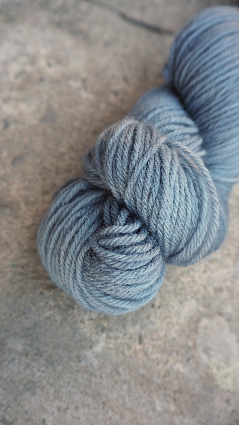 Hand dyed the line. Blue Grey (Sport 100% Blue Face Sheep)