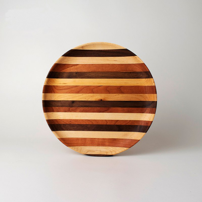 100% Log Color Platter Maple Black Walnut Wood Plate Natural Color Difference Stitching Pure Natural Color