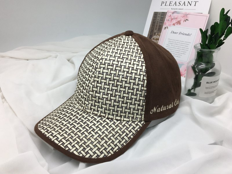 Embroidered paper cloth baseball cap (rattan) old hat made in Taiwan