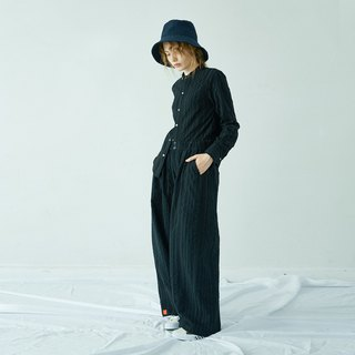 Black striped high waist wide leg pants