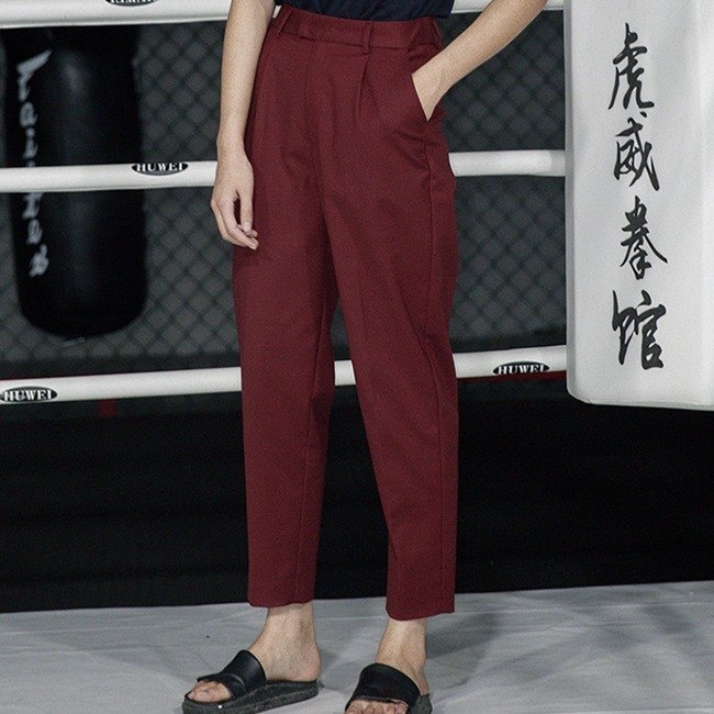Add red wine perfect version carrot pants trousers tapered cut the profile of the spring and summer suit pants Slim long legs long two color optional | Fan Tata independent design Women