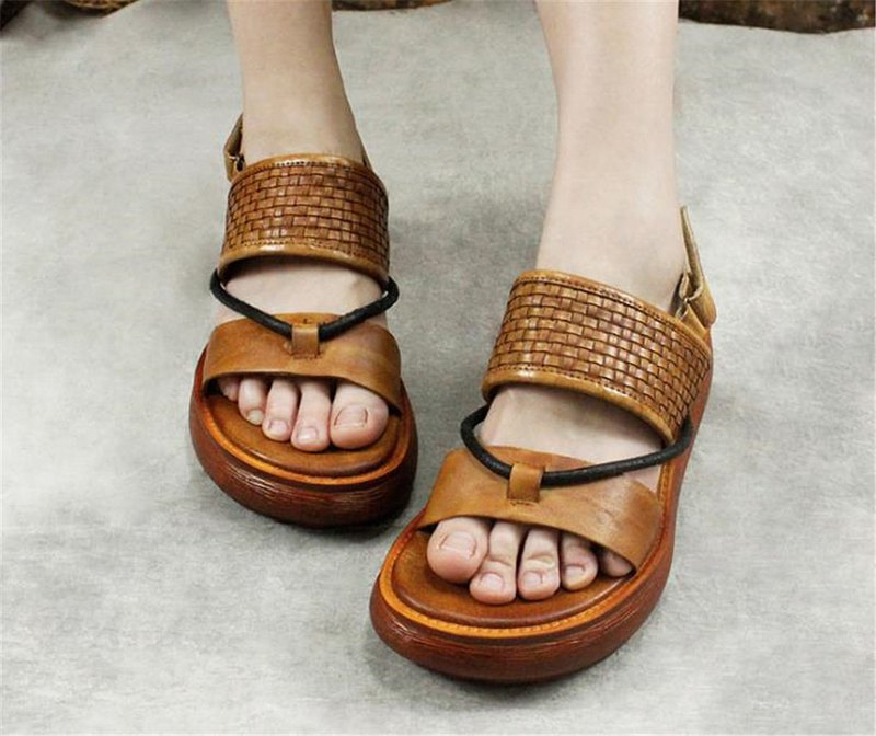 Hand-woven high-heeled sandals with thick soles