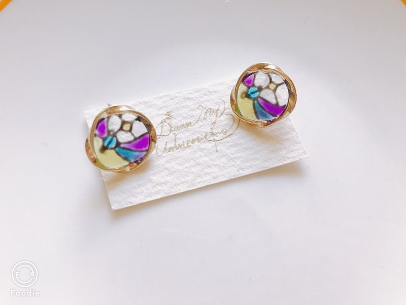 Vintage Window / Purple Cosmic Earrings Earrings