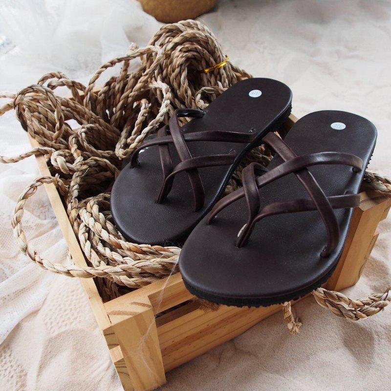 棕色皮革交叉編織涼鞋夏季涼鞋,涼爽波西米亞鞋