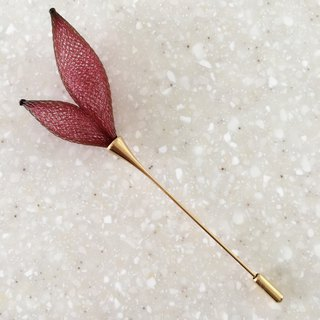 French handmade nylon flower brooch _ wine red