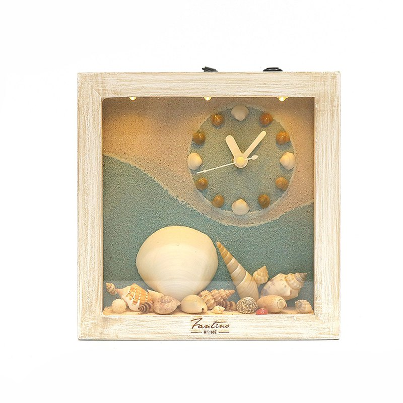 Ocean deep breathing handmade wood clock - shell heaven right clock