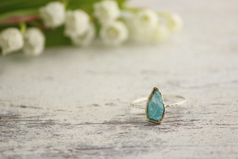 silver & brass ice blue gemstone apatite ring