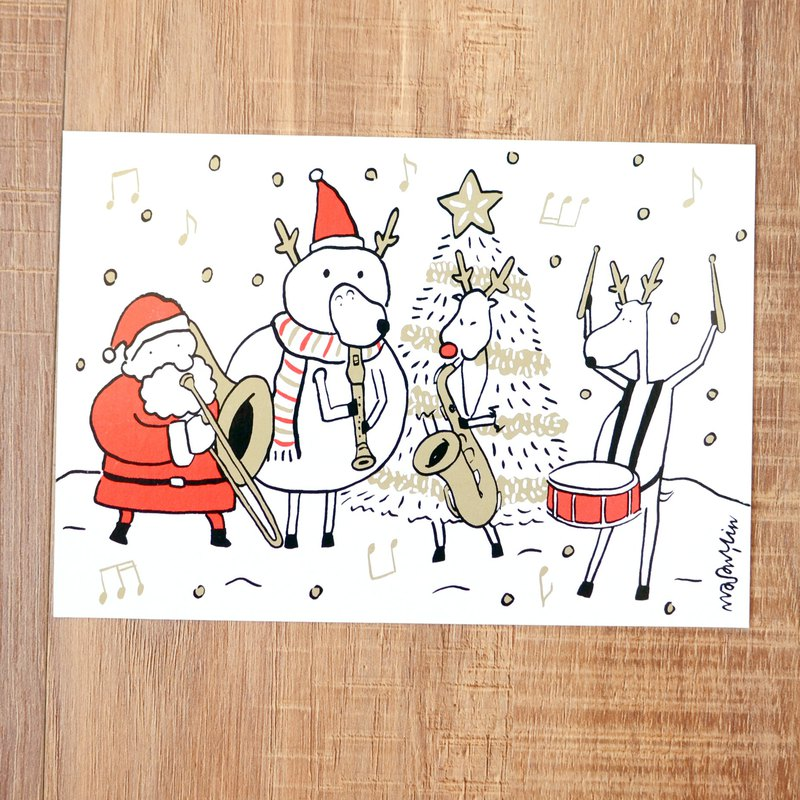 Christmas Card New - 2018 Santa Claus and Elk Daily Postcard No. 14: Christmas Band