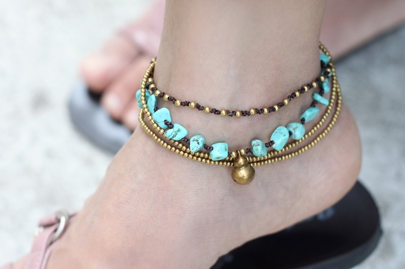 Turquoise Brass Chain Anklets Brass Woven Layer Strand Stone