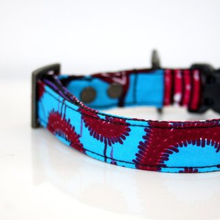 African Wax patchwork Style Dog Collar - pink, blue, purple - Antique Brass