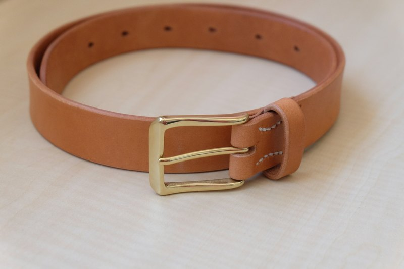Hand-stitched Italian yak leather belt can be tailor-made