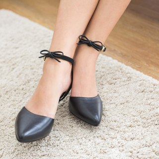 Leather Heel Pointed Stilettos Removable Bow Rubber sole
