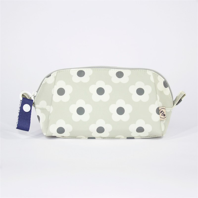 Ra Eco-friendly Super Light Waterproof Floral Cosmetic Pouch (Grey Dicots)