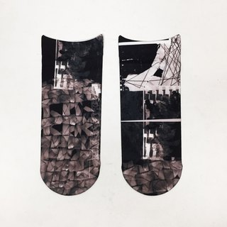 artist socks monochrome collage pattern print socks