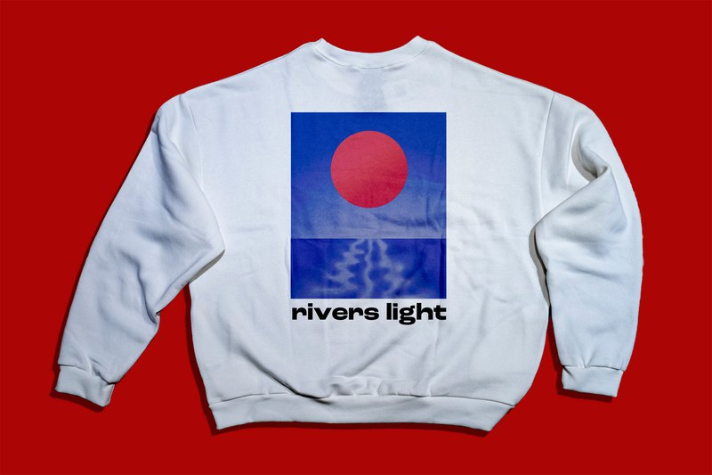 [Spot] Falling Shoulder Pocket College T ー Rivers Light-Pure White-A Jun B Child Design